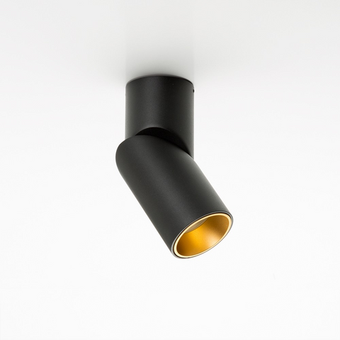 A black adjustable ceiling light with gold interior
