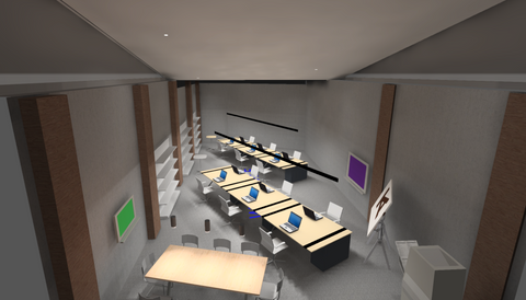 Render of a class room showing lighting design