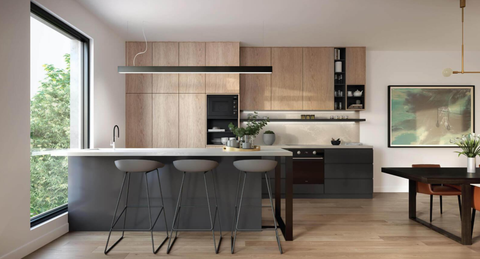 Stylish timber and grey kitchen with linear lighting and kitchen island