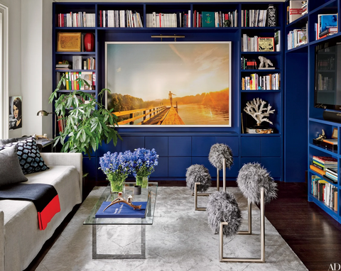 Living room with blue bookshelves and artwork with attached picture light