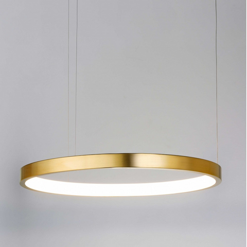Shiny brushed gold hoop pendant light hanging from three thin cords