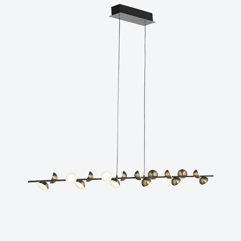 Spectacular linear pendant light with brass orb lighting on linear rod