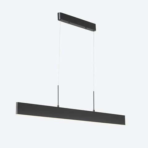 Linear pendant light with black finishing and thin cords