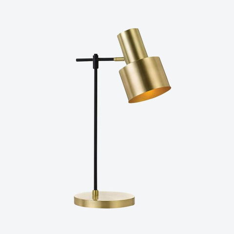 Gold table lamp with gold base and black arm