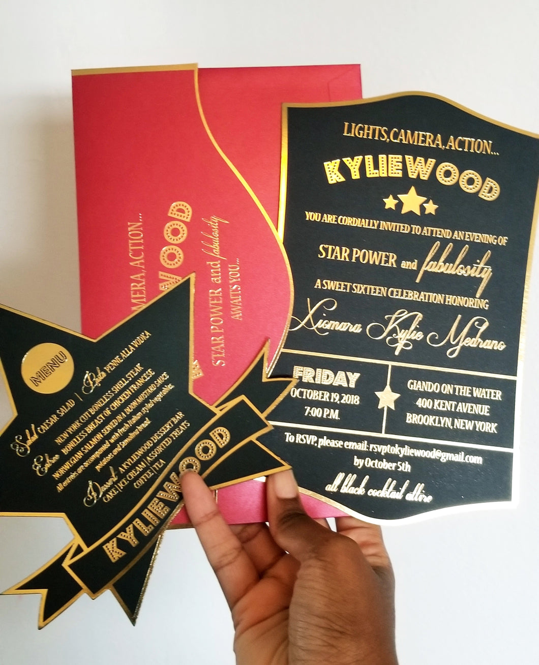 Flat Lay Stationery (4) - Hollywood Glam - Red, Black and Gold Suite
