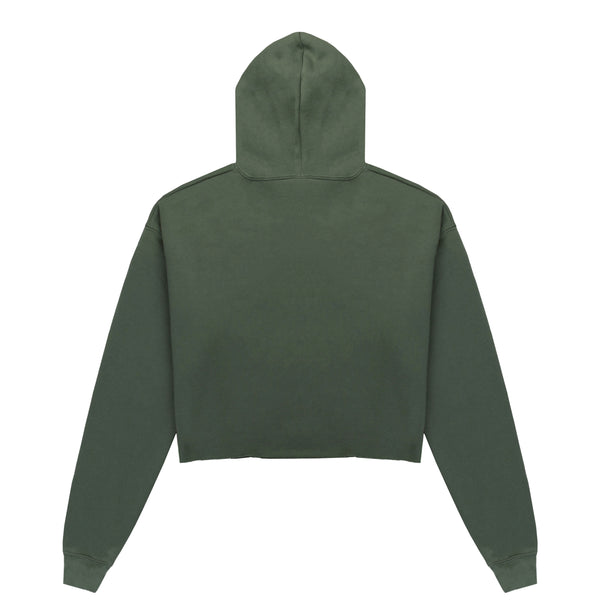 Escape The Ordinary Cropped Hoodie Khaki/White