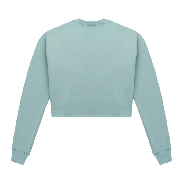 Script Logo Cropped Sweater Turquoise