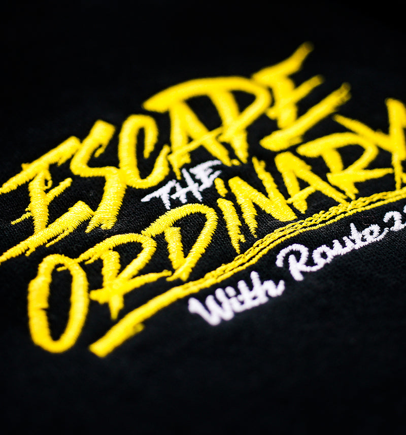 Escape The Ordinary Stacked Hoodie Black/Yellow