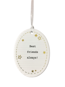 Thoughtful Words Oval - Best Friends Always