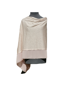 Lightweight Cafe Latte Poncho with Chiffon Edge
