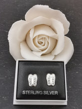 Load image into Gallery viewer, 925 Sterling Silver Ballet Shoe Cubic Zirconia Stud Earrings
