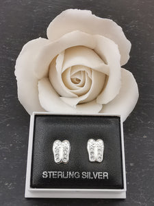 925 Sterling Silver Ballet Shoe Cubic Zirconia Stud Earrings