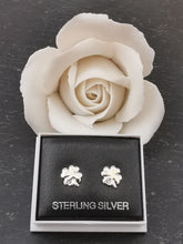 Load image into Gallery viewer, 925 Sterling Silver Clover Leaf Cubic Zirconia Stud Earrings