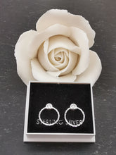 Load image into Gallery viewer, 925 Sterling Silver Circle & Cubic Zirconia Stud Earrings