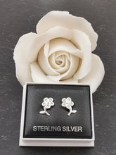 Load image into Gallery viewer, 925 Sterling Silver Flower with Clear Cubic Zirconia Stud Earrings