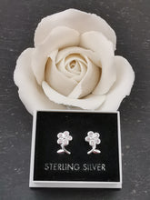 Load image into Gallery viewer, 925 Sterling Silver Flower with 5 Pink Cubic Zirconia Stud Earrings
