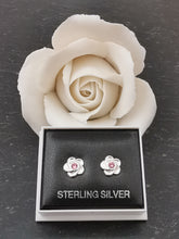 Load image into Gallery viewer, 925 Sterling Silver Flower with Pink Swarovski® Crystal Stud Earrings