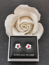 Load image into Gallery viewer, 925 Sterling Silver Flower with Red Swarovski® Crystal Stud Earrings