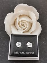 Load image into Gallery viewer, 925 Sterling Silver Flower with Aquamarine Swarovski® Crystal Stud Earrings