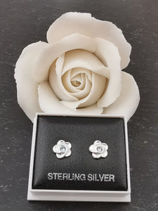 925 Sterling Silver Flower with Aquamarine Swarovski® Crystal Stud Earrings