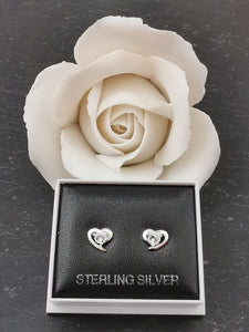 925 Sterling Silver Open Heart set with Cubic Zirconia Stud Earrings