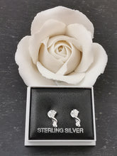 Load image into Gallery viewer, 925 Sterling Silver Contemporary Twist with Cubic Zirconia Stud Earrings