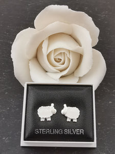 925 Sterling Silver White Sheep Stud Earrings