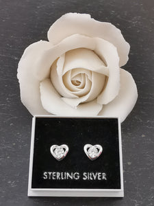 925 Sterling Silver Closed Heart with Central Cubic Zirconia Stud Earrings