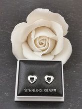 Load image into Gallery viewer, 925 Sterling Silver Closed Heart with Cubic Zirconia Stud Earrings