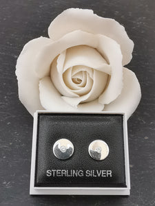 925 Sterling Silver Solid Circle with Cubic Zirconia Stud Earrings