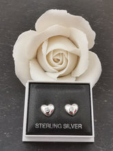 Load image into Gallery viewer, 925 Sterling Silver Solid Heart with Cubic Zirconia Stud Earrings