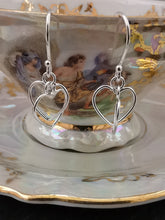 Load image into Gallery viewer, 925 Sterling Silver Interlinked Heart Drop Earrings