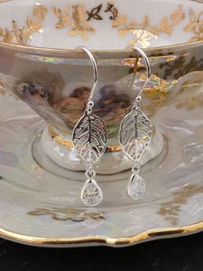 925 Sterling Silver Drop Leaf Earrings with Diamante Droplet