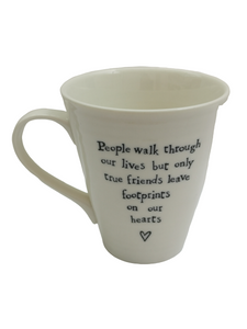 East Of India White Porcelain Mug - People Walk Through
