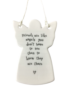 East of India Hanging Porcelain Angel - Friends Are Like