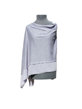 Load image into Gallery viewer, Lightweight Grey Blue Poncho with Chiffon Edge