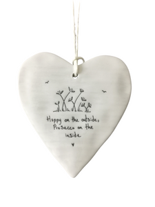 East of India Hanging Porcelain Heart - Happy On The Outside