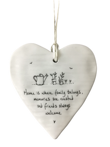East of India Hanging Porcelain Heart - Home Is Where