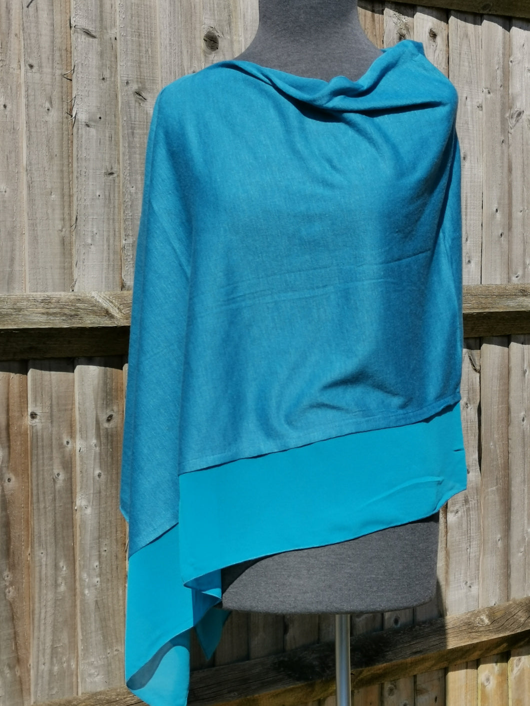 Lightweight Tiffany Blue Poncho with Chiffon Edge