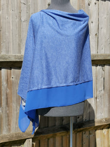 Lightweight Royal Blue Poncho with Chiffon Edge