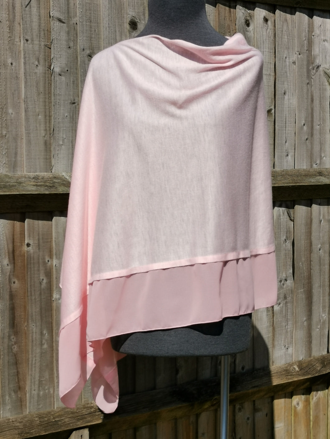 Lightweight Pink Poncho with Chiffon Edge