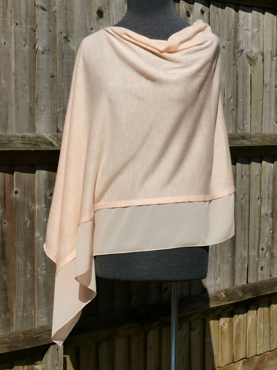 Lightweight Apricot Pink Poncho with Chiffon Edge
