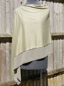 Lightweight Basil Green Poncho with Chiffon Edge