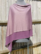 Load image into Gallery viewer, Lightweight Wine Purple Poncho with Chiffon Edge
