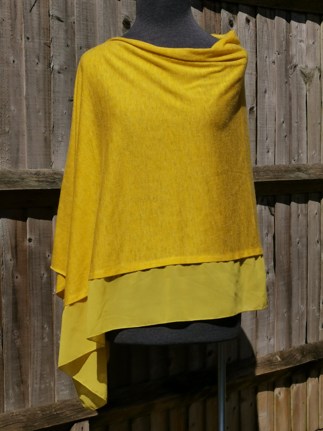 Lightweight Honey Yellow Poncho with Chiffon Edge
