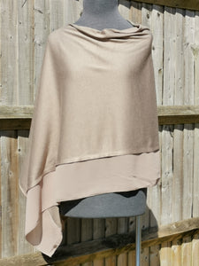 Lightweight Taupe Poncho with Chiffon Edge