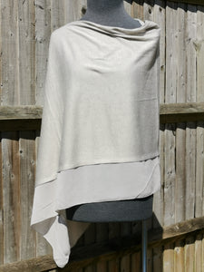 Lightweight Silver Grey Poncho with Chiffon Edge