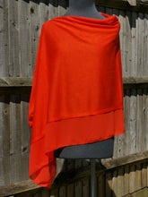 Load image into Gallery viewer, Lightweight Tangerine Red Poncho with Chiffon Edge