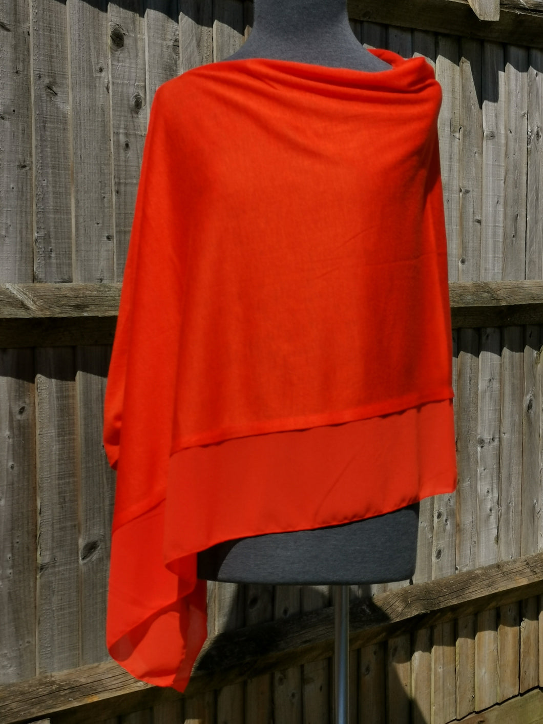 Lightweight Tangerine Red Poncho with Chiffon Edge