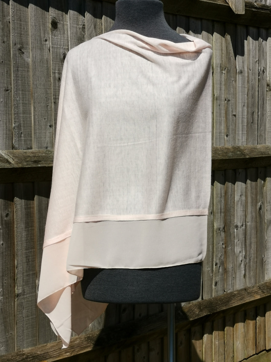 Lightweight Baby Pink Poncho with Chiffon Edge